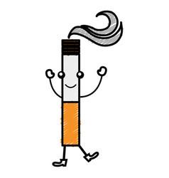 cigarette on kawaii character vector image