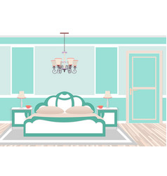 Classic bedroom interior in cold colors vector