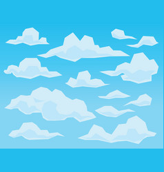 Clouds in geometric flat faceted style on blue vector