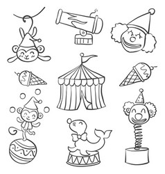 collection object circus doodle style hand draw vector image