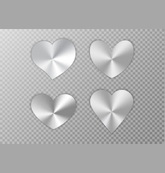 Collection of silver hearts vector