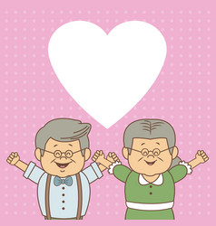 color dotted background card with elderly couple vector image