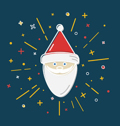 colored santa claus icon in thin line style vector image vector image