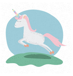 colorful background with unicorn jumping in hill vector image