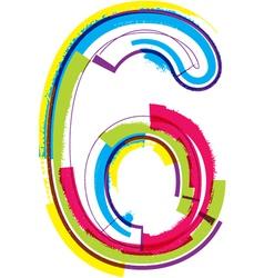 Colorful Grunge font Number 6 vector
