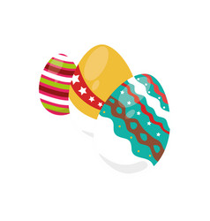 colorful set collection easter eggs icon design vector image