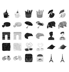 Country france blackmonochrome icons in set vector