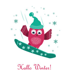 cute little owl snowboarding on mountain vector image