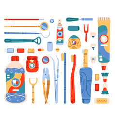 dental cleaning tools toothbrush toothpaste vector image