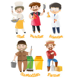 different types of occupations vector image