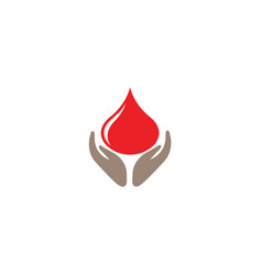 donation symbol hands hold drop blood logo vector image
