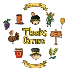 Doodle of thanksgiving object set vector image