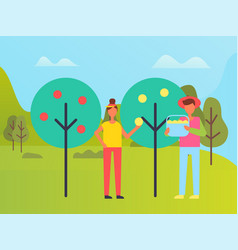 farmer man and woman harvesting trees orchard vector image