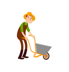 farmer on a wheelbarrow carries land flat design vector image