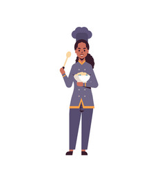 Female professional chef cook holding plate vector