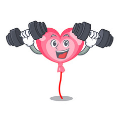 Fitness ballon heart character cartoon vector