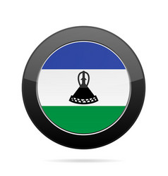 Flag of lesotho shiny black round button vector