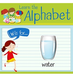 Flashcard letter W is for water vector
