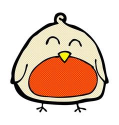 Funny comic cartoon christmas robin vector