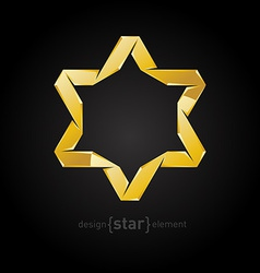 golden star of David on black background vector image