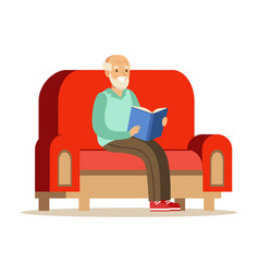 grey senior man sitting on the sofa and reading a vector image