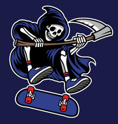 grim reaper riding skateboard vector image