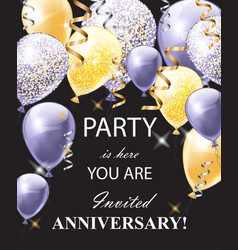 happy anniversary card with shinny balloons vector image