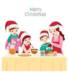 happy family baking cupcake together vector image