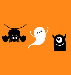 happy halloween cute bat ghost spirit monster vector image