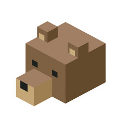 Head bear modular animal plastic lego toy blocks vector