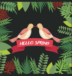 Hello spring greeting card couple bird ribbon vector