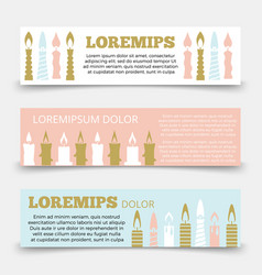Horizontal banners template with candles vector