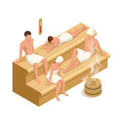 Isometric interior wooden finnish sauna and vector