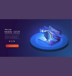 isometric internet security concept data vector image