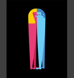 Lovers man and woman love two figures embrace vector