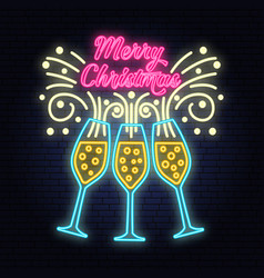 Merry christmas banner with champagne glasses neon vector
