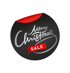 merry christmas sale lettering metallic sticker vector image