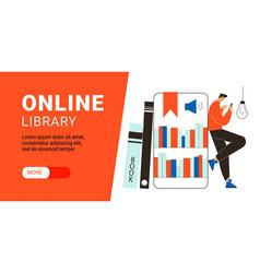 Online library horizontal banner vector