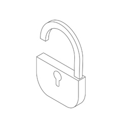 Open padlock icon isometric 3d style vector image