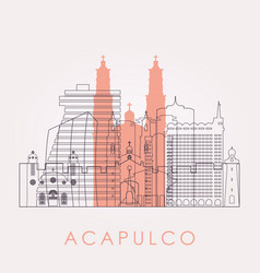 outline acapulco skyline with landmarks vector image