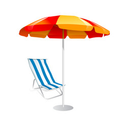 parasol and deck chairs on white background vector image