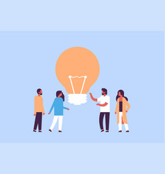 people group brainstorming new idea light lamp vector image