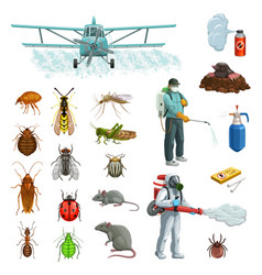 Pest control cartoon set with insects rodent vector
