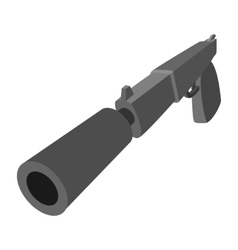 Pistol with silencer cartoon icon vector