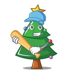 Playing baseball christmas tree character cartoon vector