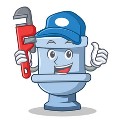 Plumber toilet character cartoon style vector