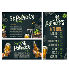 poster and price menu st patrick s calligraphic vector image