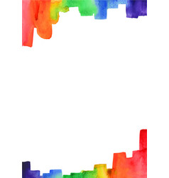 rainbow brush stroke watercolor border vector image