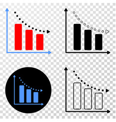 recession bar chart eps icon with contour vector image