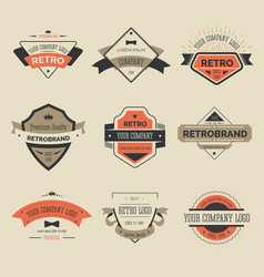 Retro labels or brand isolated icons company vector
